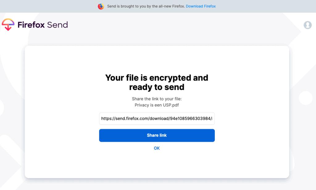 Firefox Send ontvangen